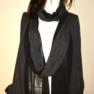 Jackets & Blazers - NEW Black and Gray Long-Sleeve Sheer Jacket